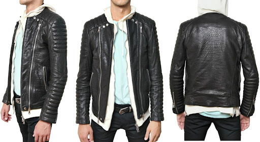 BALMAIN - GOATSKIN BIKER LEATHER JACKET