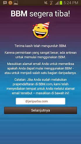 Memasukkan Alamat Email Pra Pendaftaran pada BBM For Android