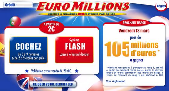 Euromillions : 105 millions d'euros à gagner !