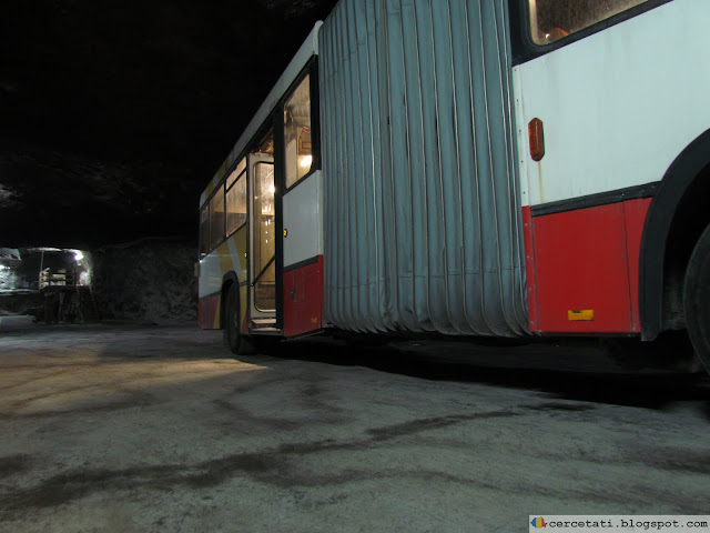 The bus leaves the mine