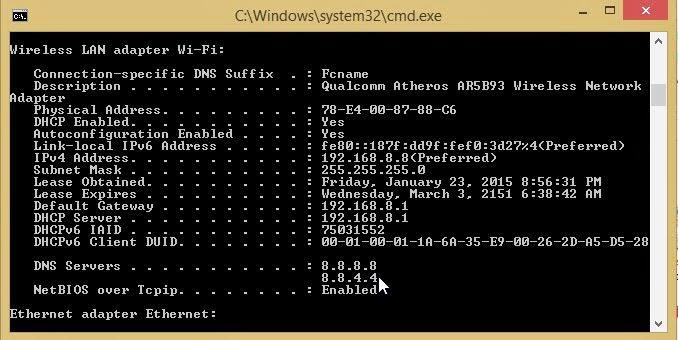 Phần thông tin về cấu hình của card mạng khi gõ lệnh ipconfig /all trong CMD