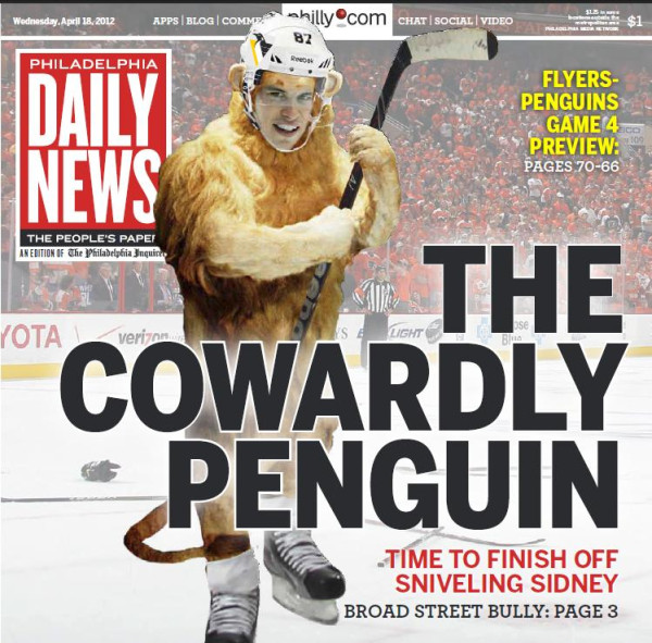 philadelphia daily news adds fuel to penguinsflyers rivalry with cowardly crosby cover