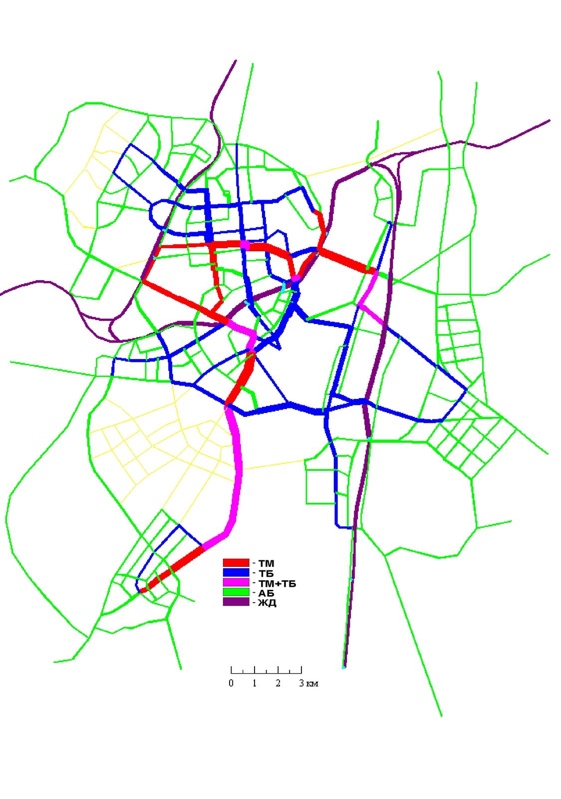 18 Вариант II. Сеть ГПТ, совмещенная с картограммой пассажиропотоков по видам транспорта