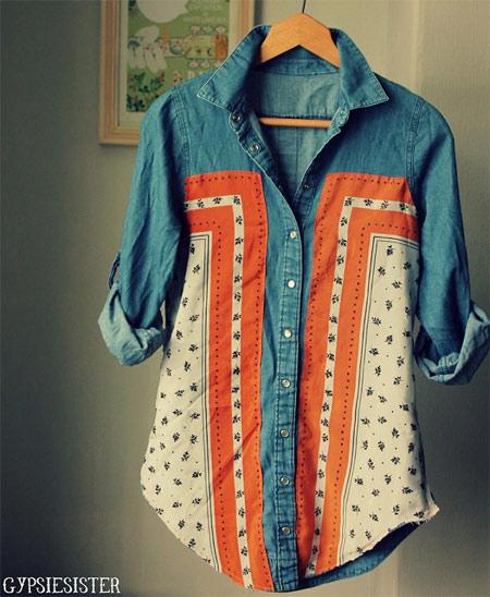 customização de camisa jeans com aplicação de lenço