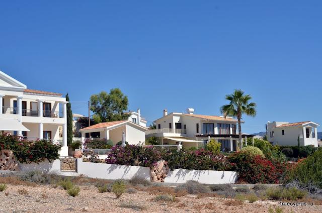 кипр, дома, пафос, море, белые камни, белые скалы