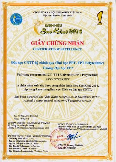Cao đẳng thực hành FPT Polytechnic nhận giải Sao Khuê 2014.