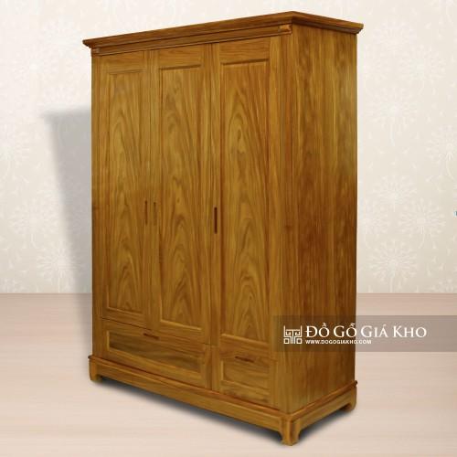 Tủ áo gỗ Cẩm Vàng 3 cánh TA071
