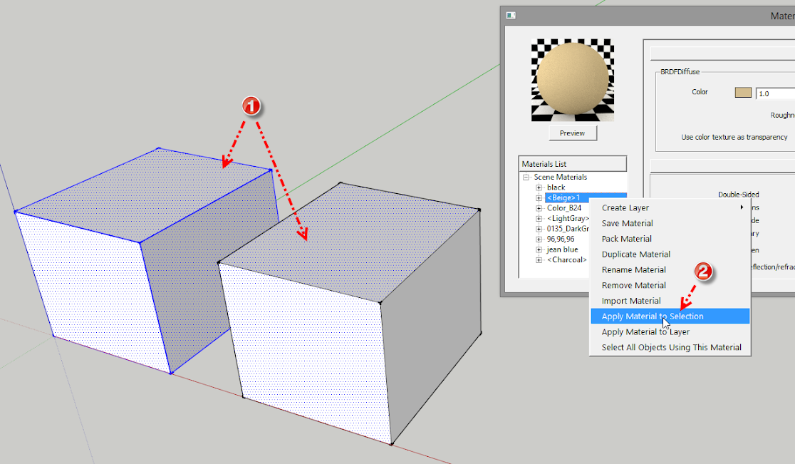 การใช้งานคำสั่ง Apply Material to Selection, Layer และ Select All Objects Using This Material Vrayamt01