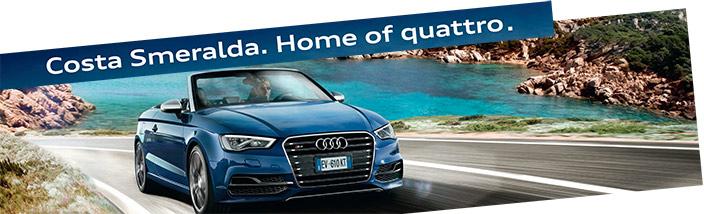 Сosta Smeralda. Home of quatro. Audi banner при выходе из аэропорта Ольбии