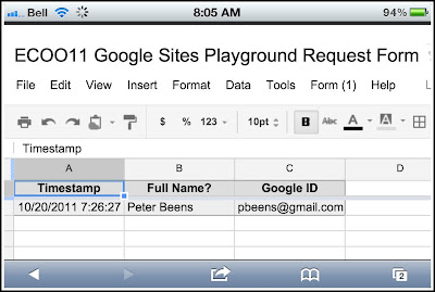 Google Sites Playground Request Form - Where the Data Goes