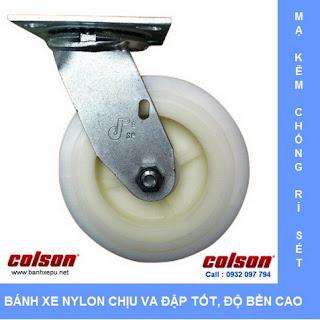 Bánh xe Nylon bánh xe đẩy chịu tải trọng ( 243~370kg) | www.banhxepu.net