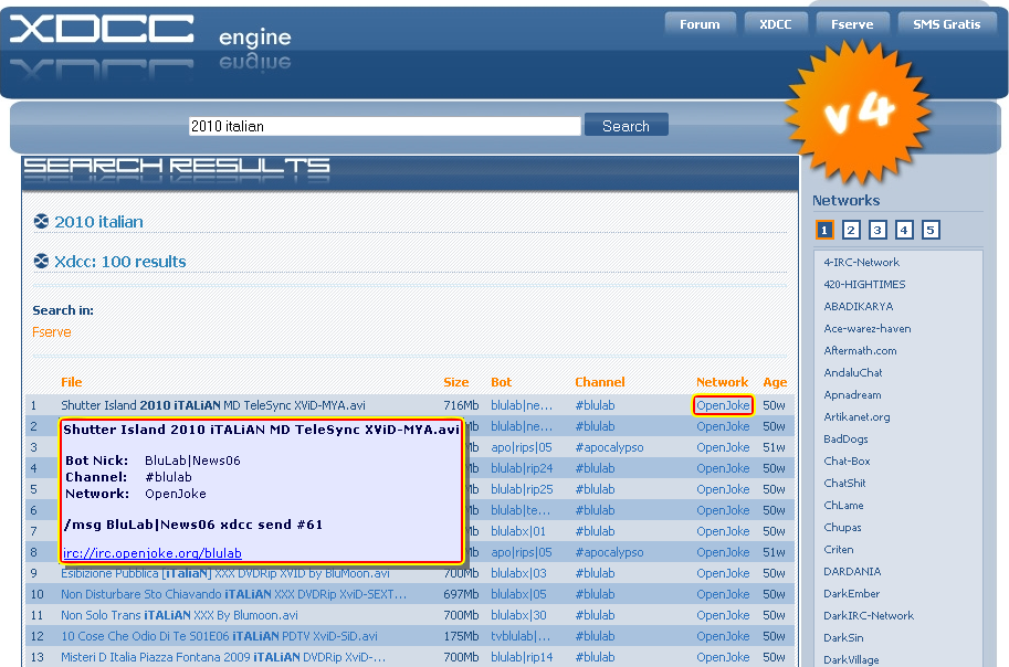 Dr  More: Da xdcc it a xWeasel - Generare link per xWeasel (New)