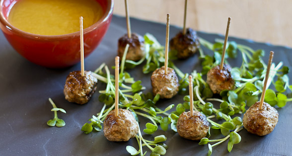 Turkey-Cinnamon Meatballs with Sweet & Spicy Mango Sauce (low sodium)