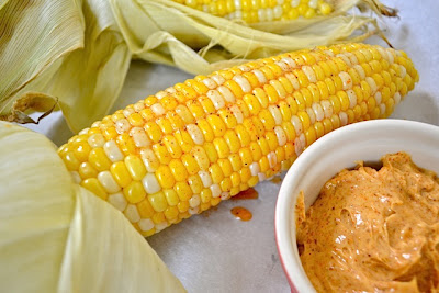 oven roasted corn with honey chili butter