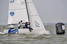 J/70 North Sails rounding mark at Warsash Spring Series