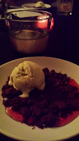 Morgan St Theater: Sundae Bloody Sundae, Tarragon olive oil ice cream, chocolate orange wafer crumble, blood orange gastrique