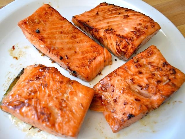 cooked teriyaki salmon on plate