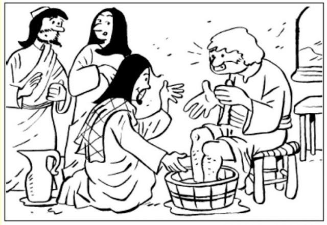 Jesús lava los pies a sus discípulos para colorear