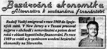 Rudolf Vaský, Bezúročná ekonomika