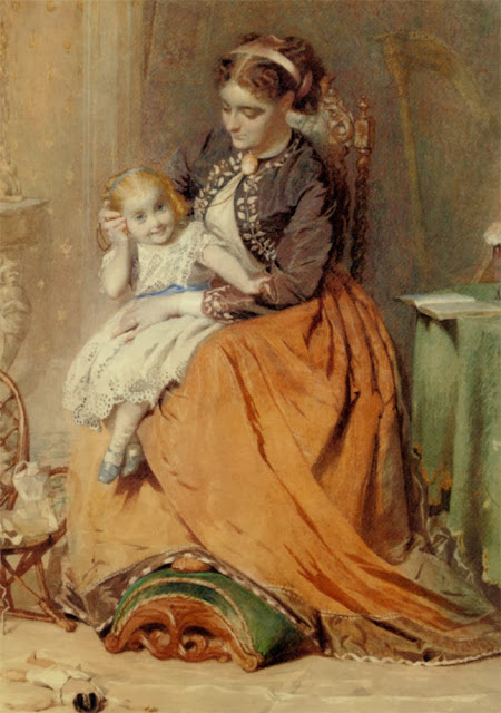 George Elgar Hicks - 'Tick, Tick, Tick' - a girl sitting on her mother's lap listening to her gold watch ticking, 1867