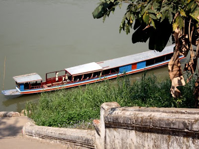 Boat on the Mekong River in Luang Prabang Laos