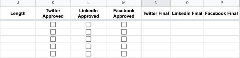 ejemplo continuo de encabezados de hoja de Google etiquetados como longitud, aprobación de Twitter, aprobación de LinkedIn, aprobación de Facebook, final de Twitter, final de LinkedIn y final de Facebook
