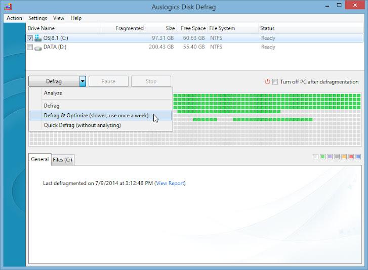 Auslogics Disk Defrag Free, Portable
