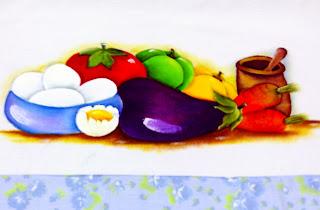 pintura de ovos com legumes e pilão