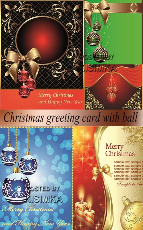 Christmas greeting card with ball