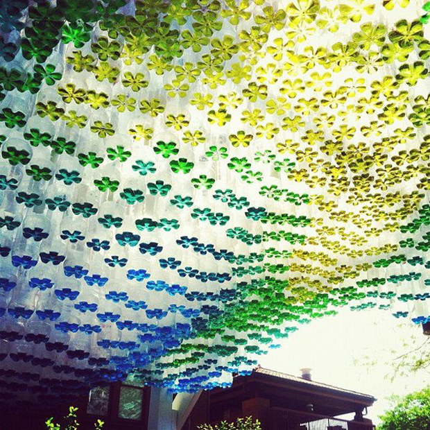 Undulating Parking Canopy Made of Recycled Soda Bottles