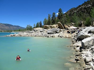 Michael and Bradley swimming in Joe's Valley Reservoir