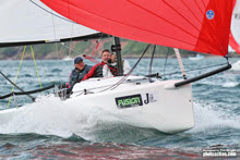 J/70 sailing fast off Plymouth, England- J/Cup regatta