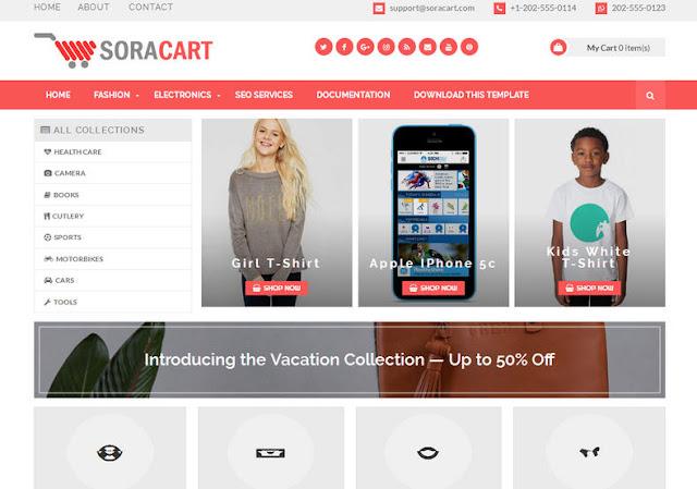 SoraCart Shopping Blogger Template - Free Templates