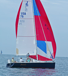 J/100 enjoying sailing on Lake Michigan!