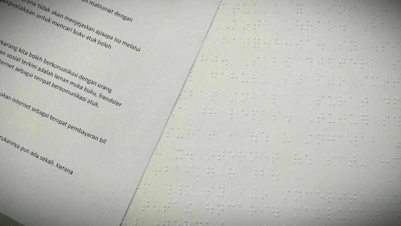 Surat tulisan Braille Pertandingan Menulis Surat 1 Malaysia