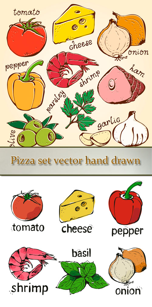 Stock: Pizza set vector hand drawn