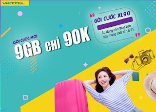 Nhận Miễn phí 9GB Data Gói XL90 Viettel