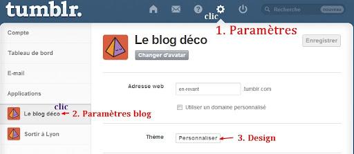 Paramètres sur Tumblr