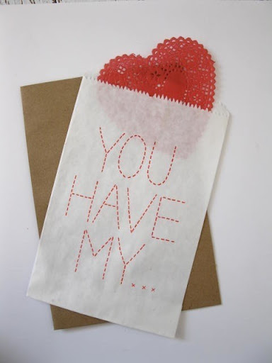Love this one from Bird and Banner- it's so quintessentially crafty with the heart doily and faux stitching. http://www.etsy.com/listing/66356683/pack-of-5-you-have-my-heart-cards