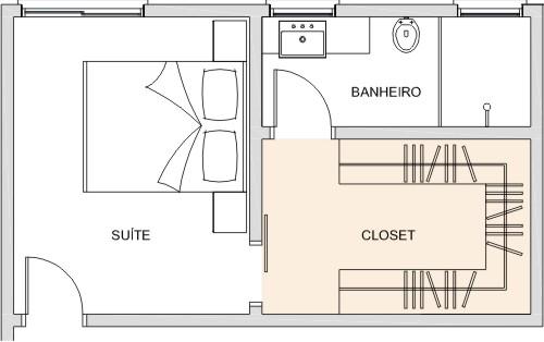 Banheiro Integrado Ao Quarto Pequeno ~ Eu quero um closet em U  mas nos p?s da cama