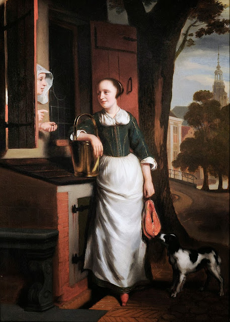 Nicolaes Maes - Two chattering housewives