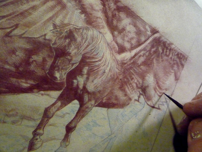 Bellerophon and Pegasus drawing by Jeff Lafferty