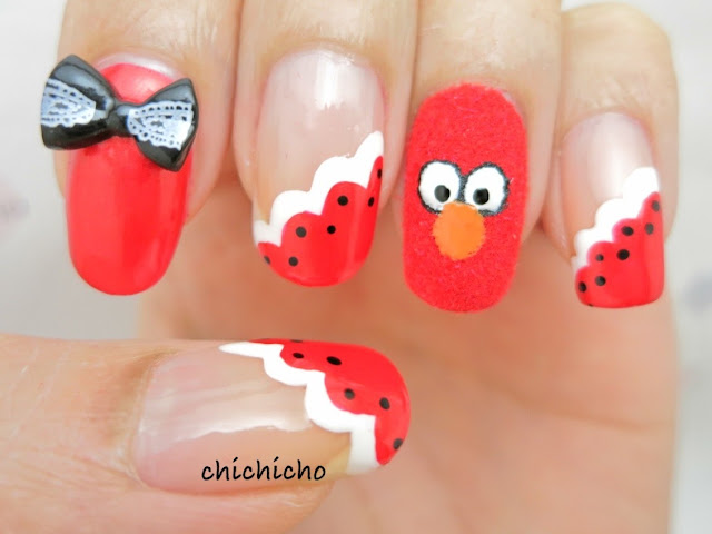 Fuzzy Elmo Nail Art
