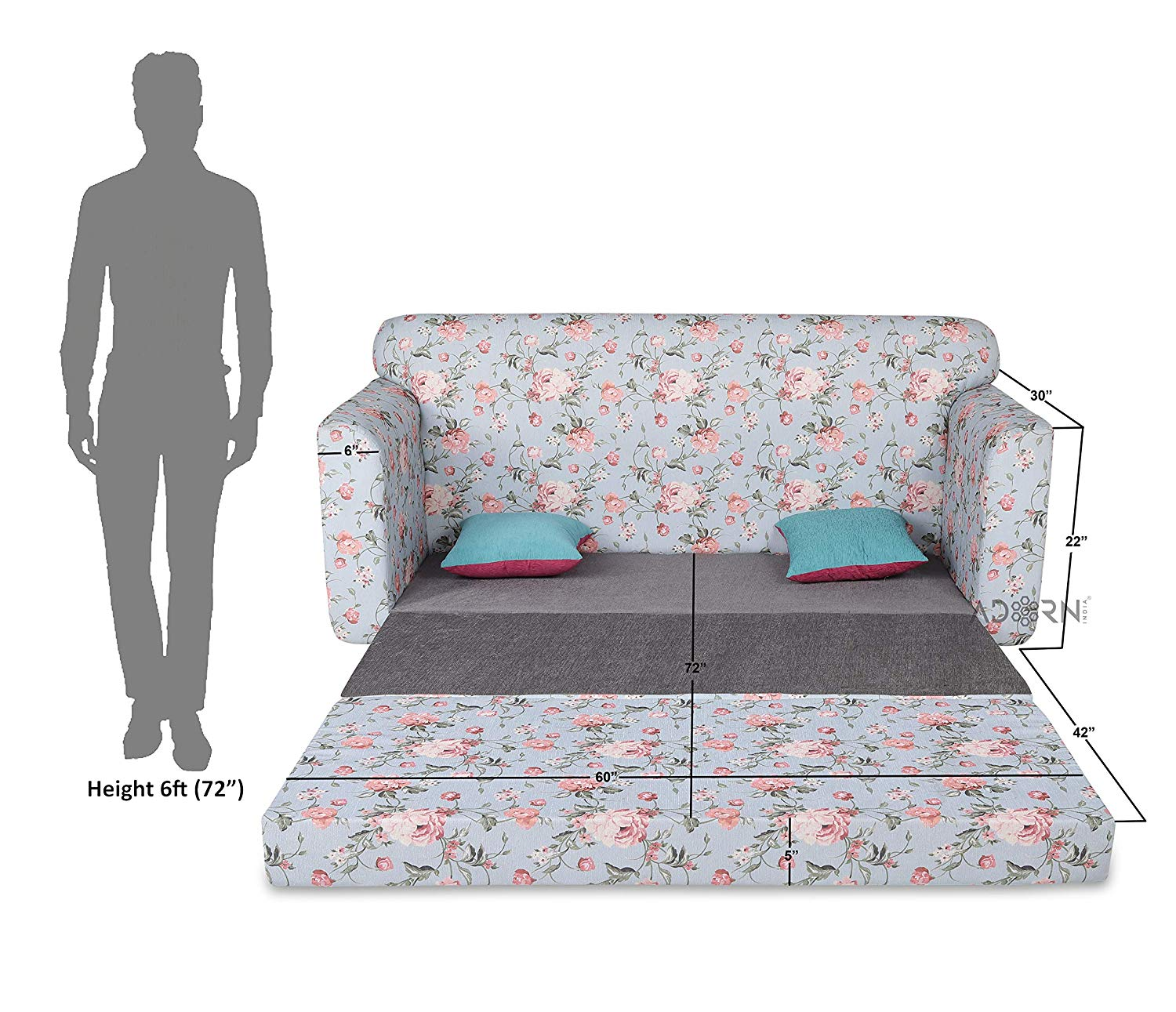 Adorn Roselyn three Seater Sofa Cum Bed