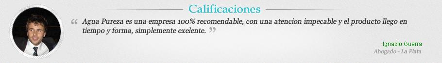 Agua Pureza realmente es una empresa para destacar de las más serias de Argentina. Nunca me trataron tan bien desde antes de comprar hasta luego de hacerlo. El servicio y la buena predisposición son excelentes. Por error dupliqué el pago con la tarjeta y me lo devolvieron en un abrir y cerrar de ojos. Muy honestos, muy buena gente. Gracias!