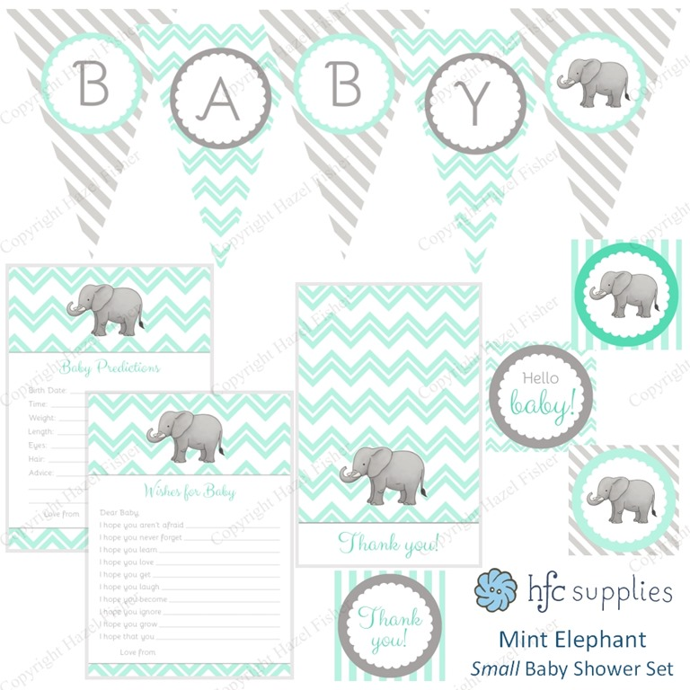 Elephant Baby Shower printable party set mint bunting wishes card thank you cupcake toppers instant hfcSupplies 1