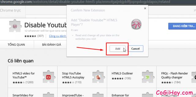 cài đặt phần mở rộng tắt html5