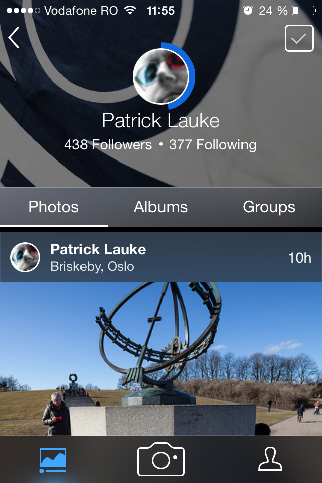 Flickr for iOS 3.0: Loading animation for profiles
