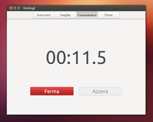 Gnome Clocks su Ubuntu - cronometro