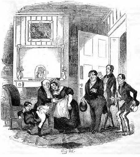 Ilustraciones y dibujos en los libros de Dickens - Hablot Knight Browne, Phiz. Mrs. Bardell faints in Mr. Pickwick´s arms. The Posthumous Papers of the Pickwick Club